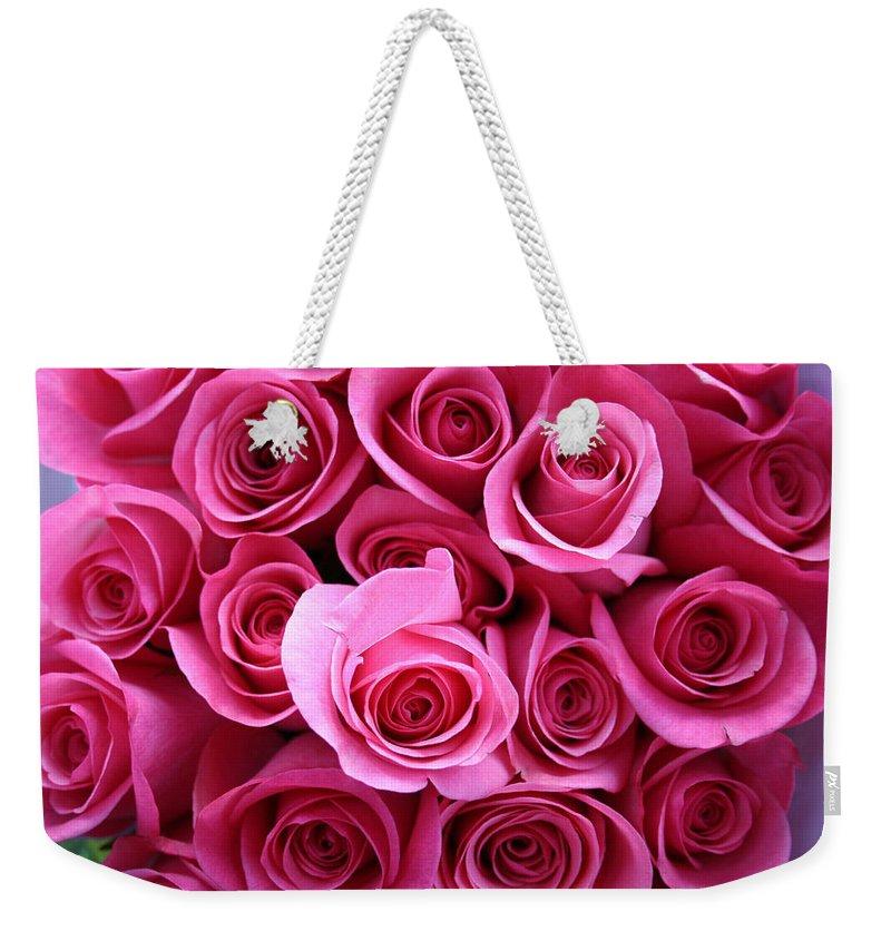 Pink Roses Weekender Tote Bag featuring the photograph Grandma Roses by Linda Sannuti