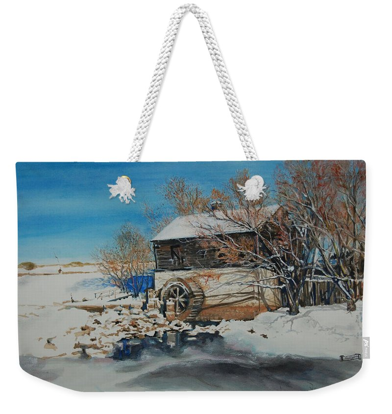 Mill Weekender Tote Bag featuring the painting Grants Old Mill by Susan Moore