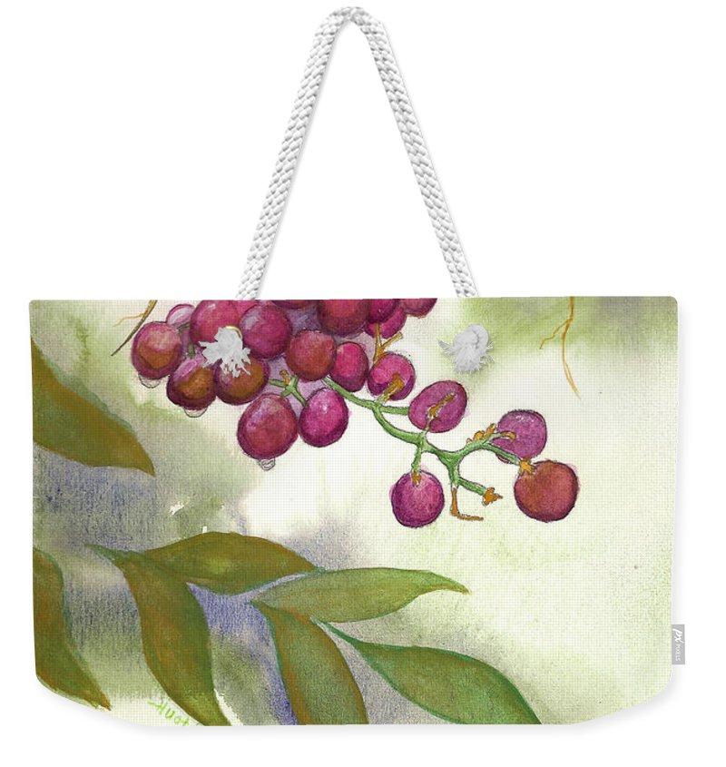 Rick Huotari Weekender Tote Bag featuring the painting Grapes Divine by Rick Huotari