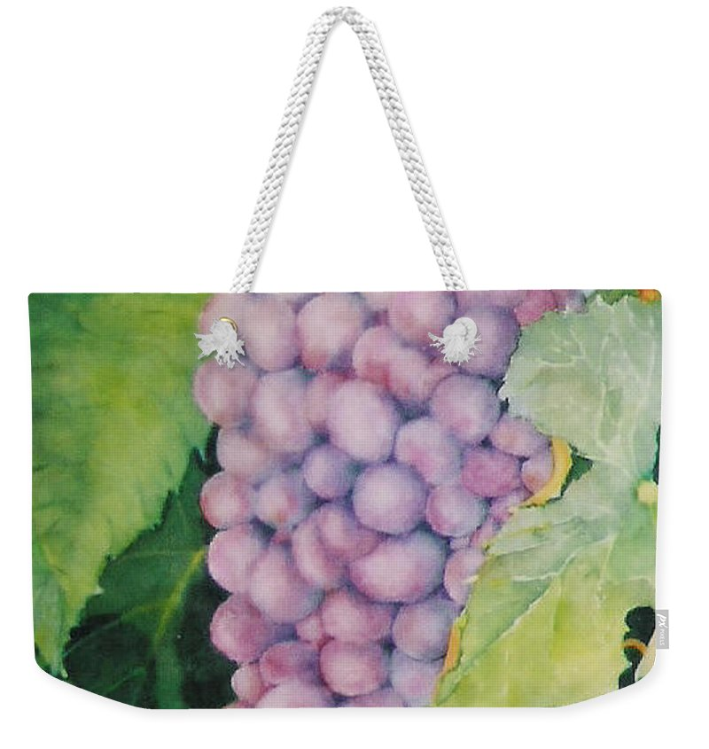 Grapes Weekender Tote Bag featuring the painting Grapes by Mary Ellen Mueller Legault