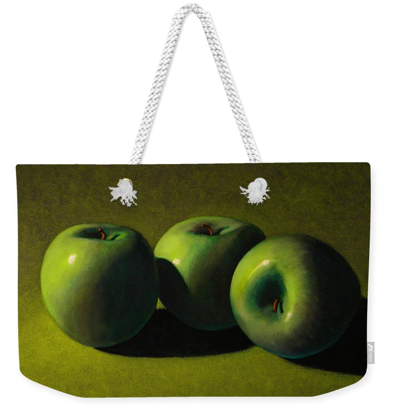 Still Life Weekender Tote Bag featuring the painting Green Apples by Frank Wilson