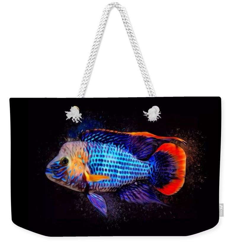 Green Terror Weekender Tote Bag featuring the digital art Green Terror Cichlid Fish by Scott Wallace Digital Designs