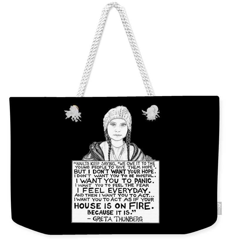 Pen And Ink Weekender Tote Bag featuring the drawing Greta Thunberg Drawing by Rick Frausto