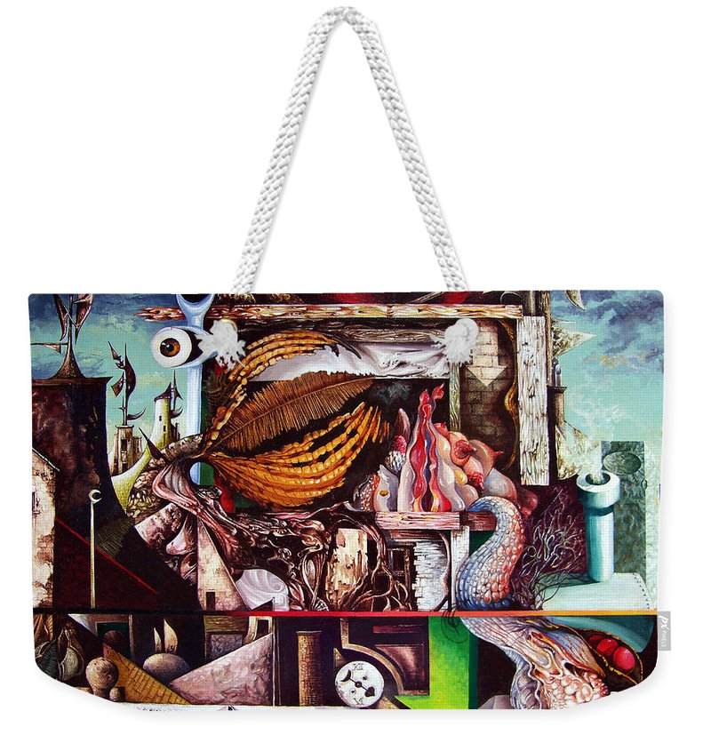 Surrealism Weekender Tote Bag featuring the painting Grey Day At The Factory by Otto Rapp