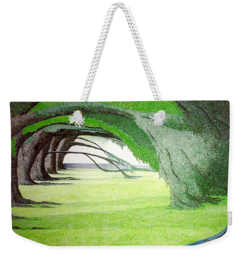 Group Bonsai Weekender Tote Bag featuring the painting Grove Illusion by A Robert Malcom