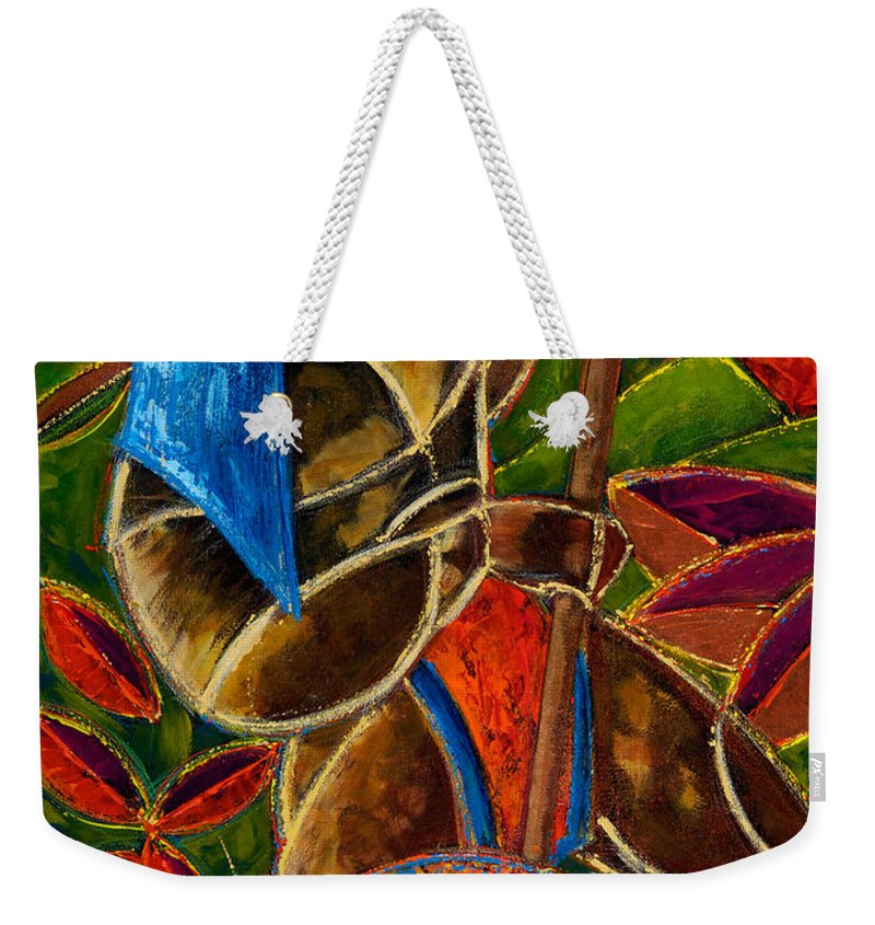 Puerto Rico Weekender Tote Bag featuring the painting Guarani... hombre de familia by Oscar Ortiz