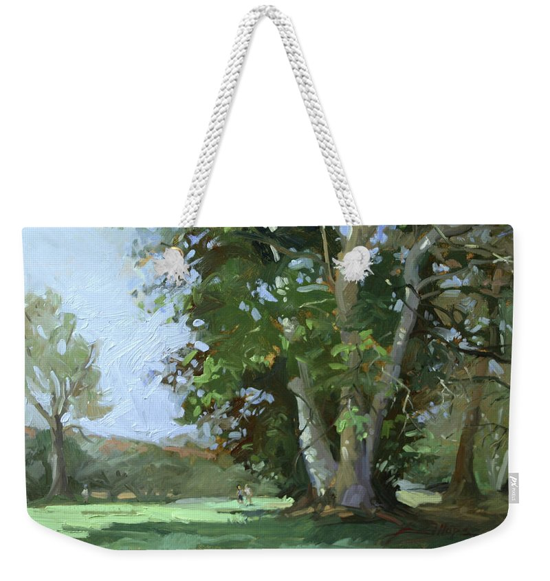 Golf Courses Weekender Tote Bag featuring the painting Guardian of the Green by Betty Jean Billups