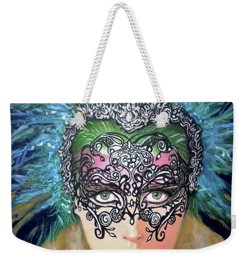 Party Weekender Tote Bag featuring the painting Guess by Jose Manuel Abraham