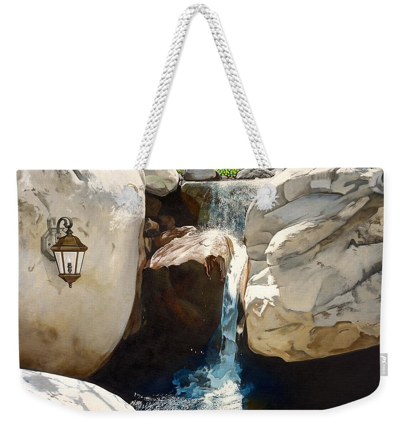 Landscape Weekender Tote Bag featuring the painting Guiding Light by Snake Jagger