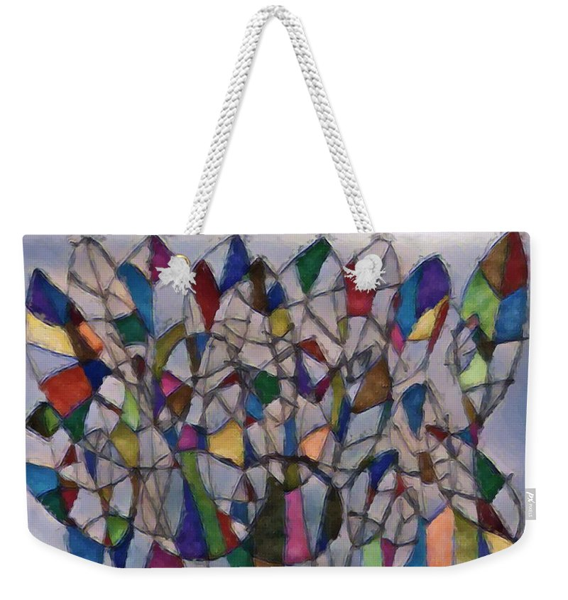 Drawing Weekender Tote Bag featuring the drawing Happy Trees 02 by Pam Roth O'Mara