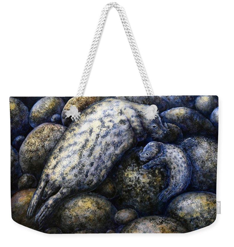Harbor Seals In Moonlight Weekender Tote Bag featuring the painting Harbor Seals In Moonlight by Frank Wilson
