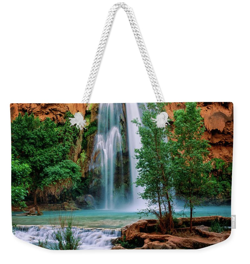 America Weekender Tote Bag featuring the photograph Havasu Cascades by Inge Johnsson
