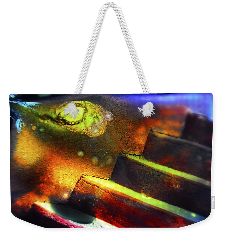 Abstract Weekender Tote Bag featuring the photograph Heart of Glass by Skip Hunt