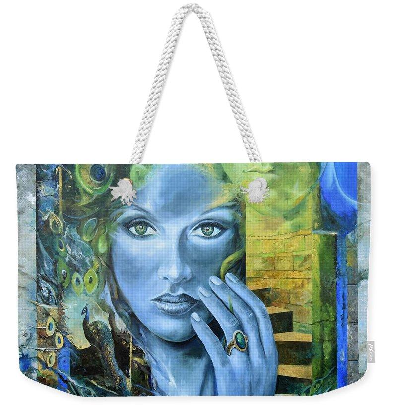 Portrait Weekender Tote Bag featuring the painting Heavenly Garden by Sinisa Saratlic