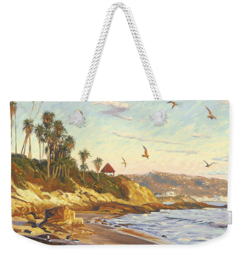 Twilight Weekender Tote Bag featuring the painting Heisler Park Rockpile at Twilight by Steve Simon