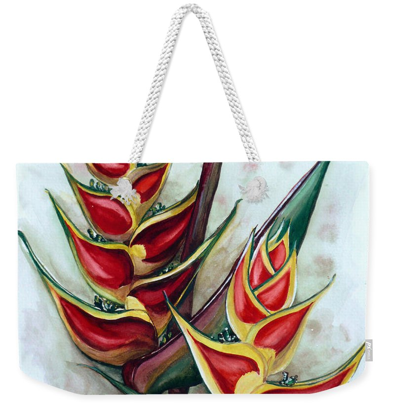 Caribbean Painting Flower Painting Floral Painting Heliconia Painting Original Watercolor Painting Of Heliconia Bloom  Trinidad And Tobago Painting Botanical Painting Weekender Tote Bag featuring the painting Heliconia Tropicana Trinidad by Karin Dawn Kelshall- Best