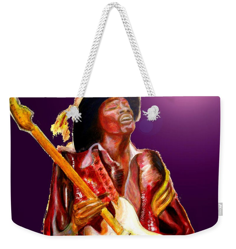 Jimi Weekender Tote Bag featuring the painting Hendrix variations in purple by Tom Conway
