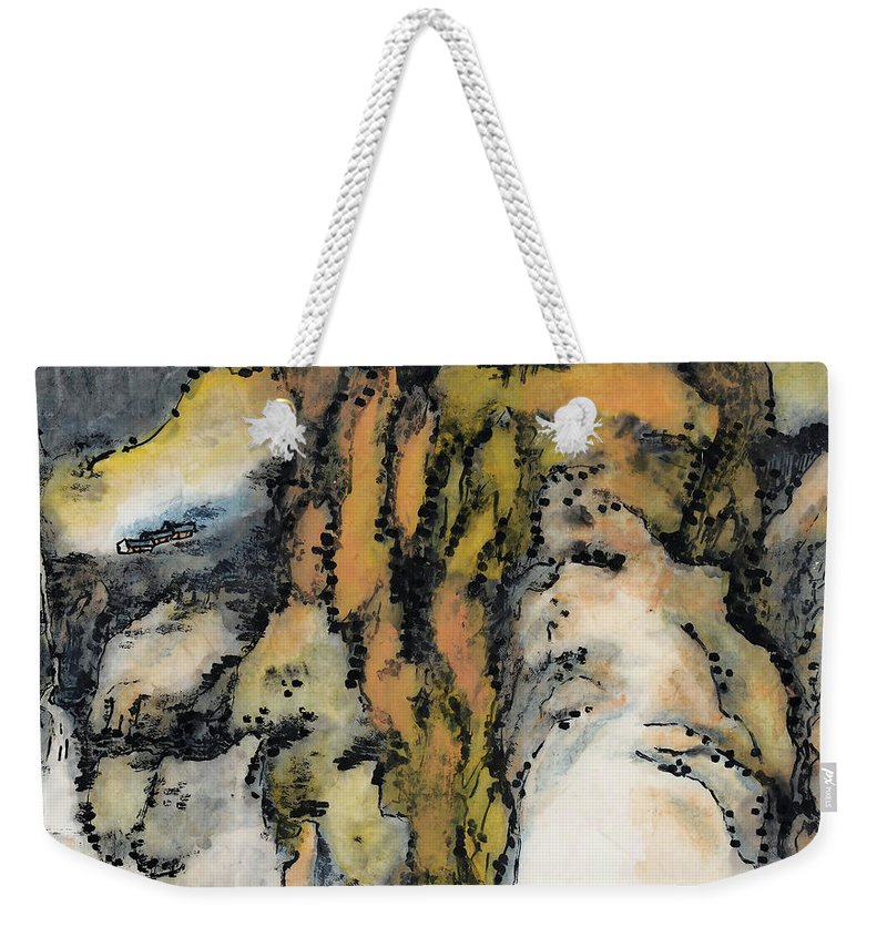 Lai Shaoji Weekender Tote Bag featuring the painting High Mountains And Flowing Water In    by Lai Shaoji