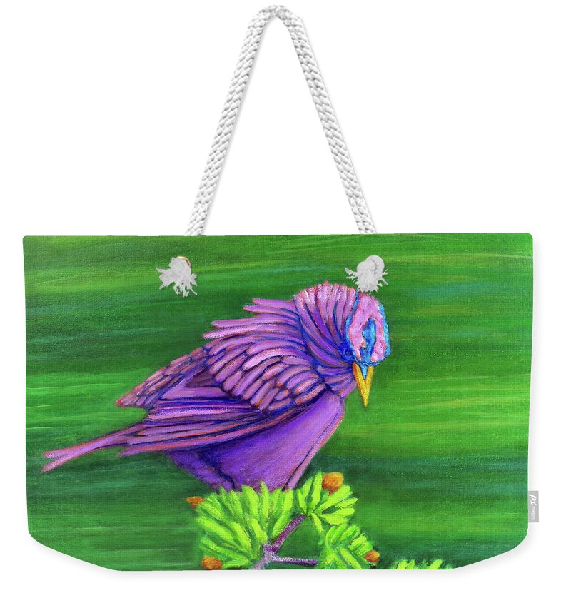 Bird Weekender Tote Bag featuring the painting Hold On by Brian Commerford