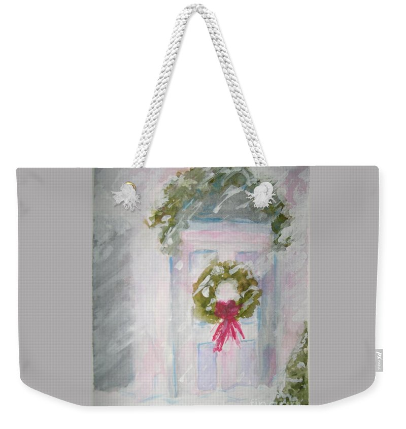 Christmas Weekender Tote Bag featuring the painting Home for the Holidays by Patricia Caldwell