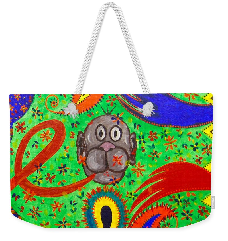 Hookah Weekender Tote Bag featuring the painting Hookah Monkey Panel 2 by Fareeha Khawaja