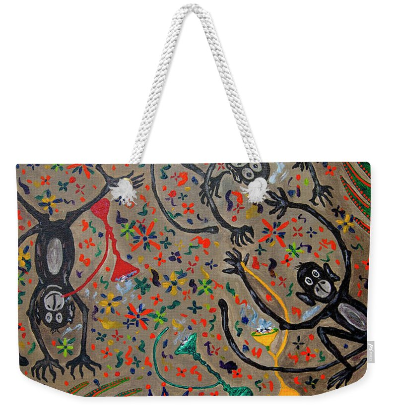 Contemporary Folk Art Weekender Tote Bag featuring the painting Hookah Monkeys - Jinga Monkeys Series by Fareeha Khawaja