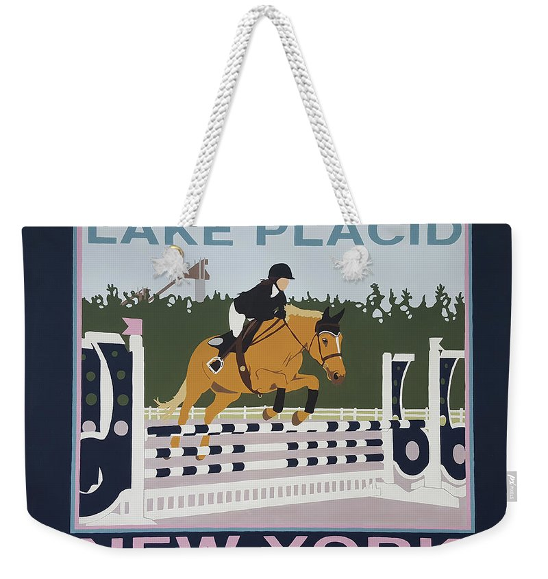 Horse Jumping Horse Jump Lake Placid New York Ny Horses Show Showgrounds Ski Jumps Weekender Tote Bag featuring the painting Lake Placid Horse Show by Joanne Orce