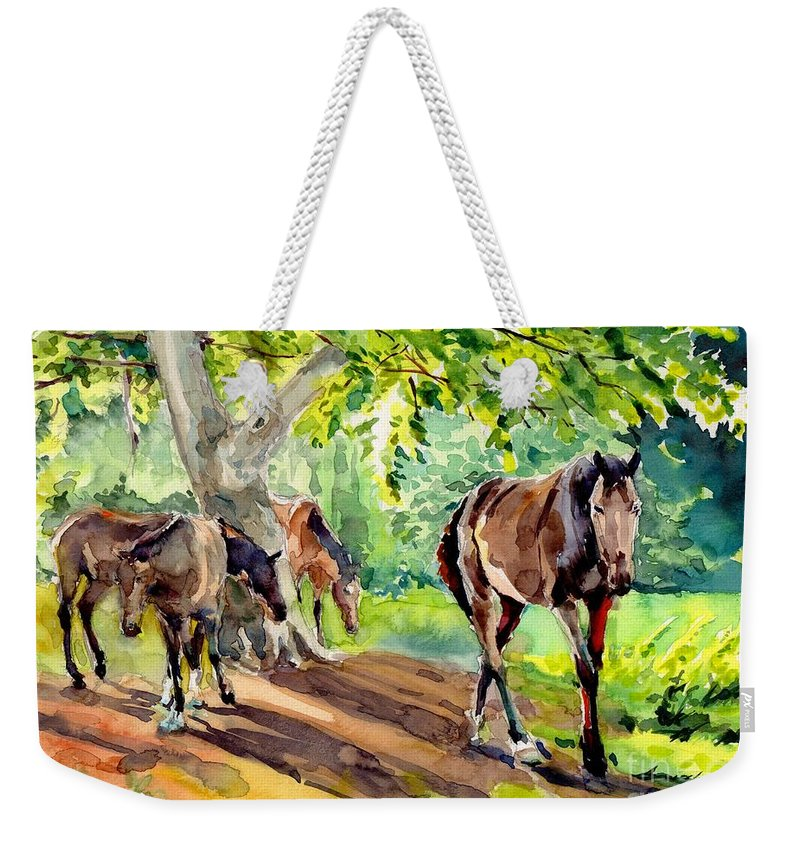 Grass Weekender Tote Bag featuring the painting Horses At Grass by Suzann Sines