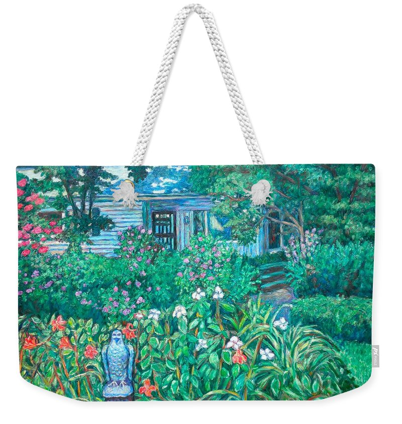 Landscape Weekender Tote Bag featuring the painting House on Chesterbrook Road in McLean by Kendall Kessler