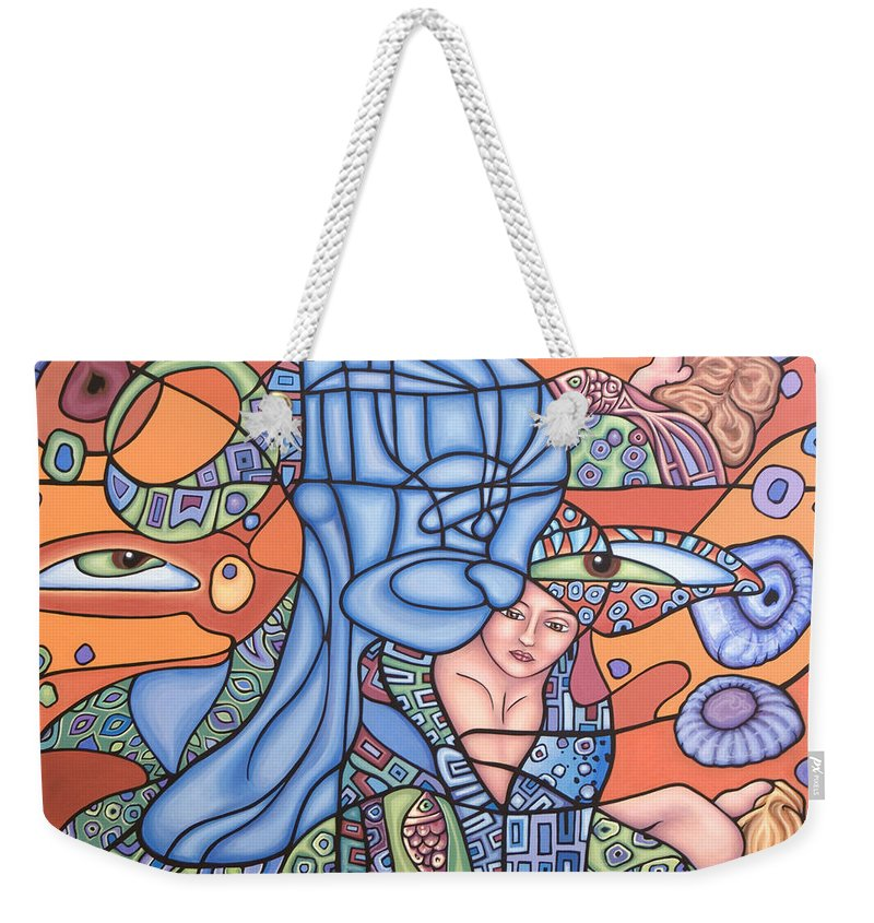 Mermaid Weekender Tote Bag featuring the painting I See You by Judy Henninger