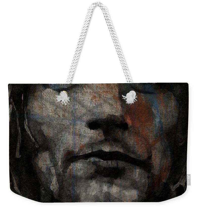 Rod Stewart Weekender Tote Bag featuring the painting I Was Only Joking by Paul Lovering