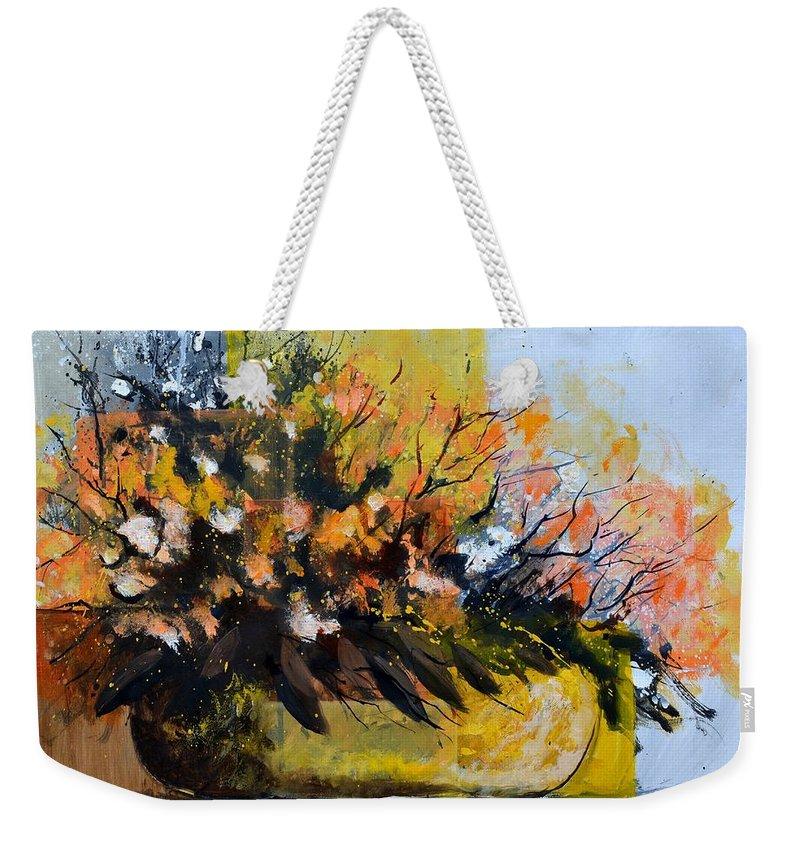 Flowers Weekender Tote Bag featuring the painting Ikebana by Pol Ledent
