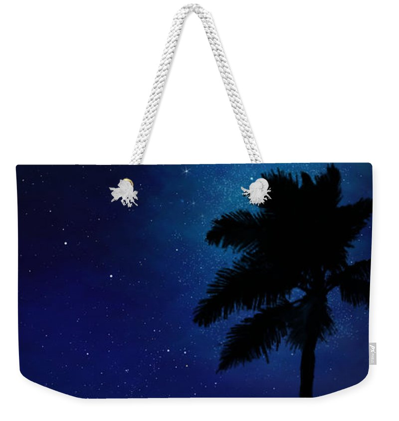 Illusion Murals Weekender Tote Bag featuring the painting Illusion Mural Palm On Beach by Frank Wilson