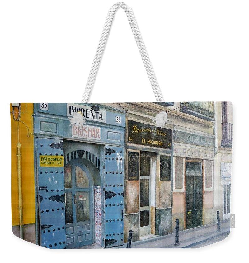 Madrid Weekender Tote Bag featuring the painting Imprenta Brismar by Tomas Castano