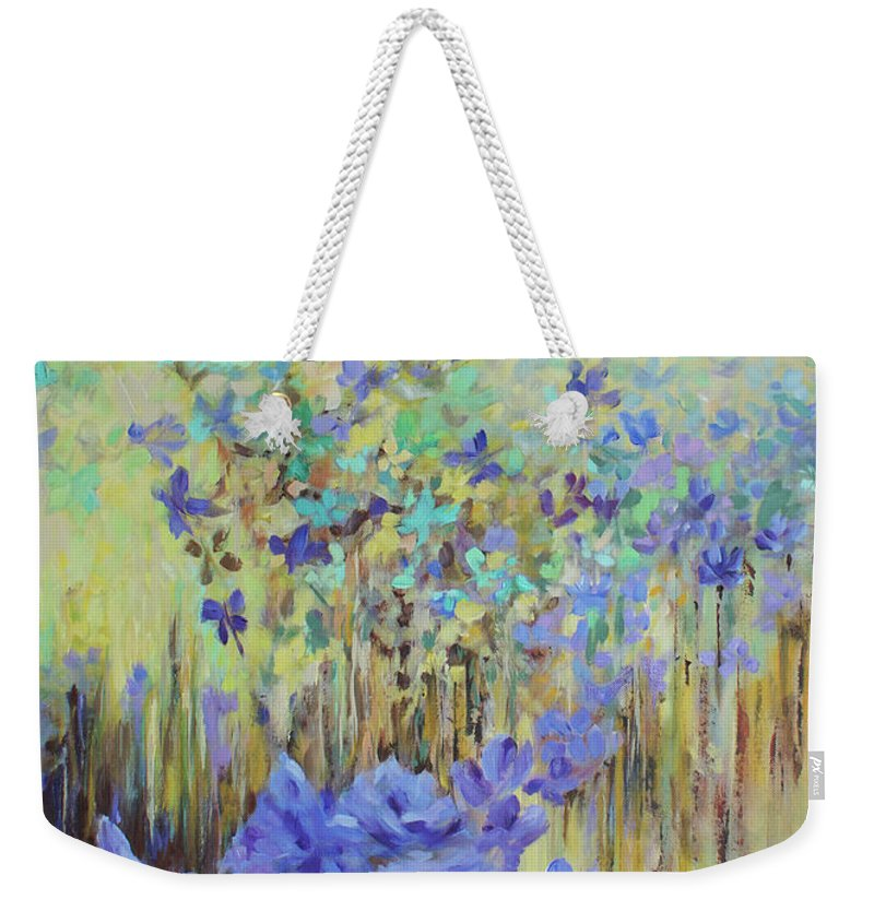 Iris Weekender Tote Bag featuring the painting In Flight by Jo Smoley