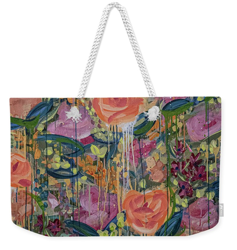 English Garden Weekender Tote Bag featuring the painting In The Garden by Amanda Armstrong