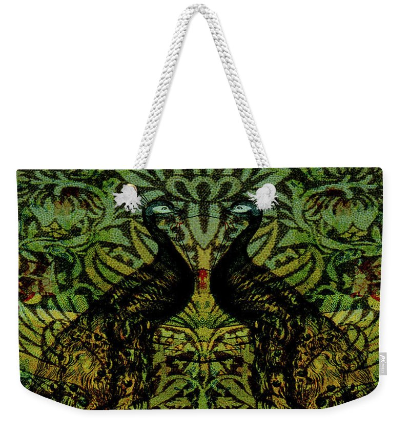 Peafowls Weekender Tote Bag featuring the digital art Indian Blue Peafowl Pattern by Sarah Vernon