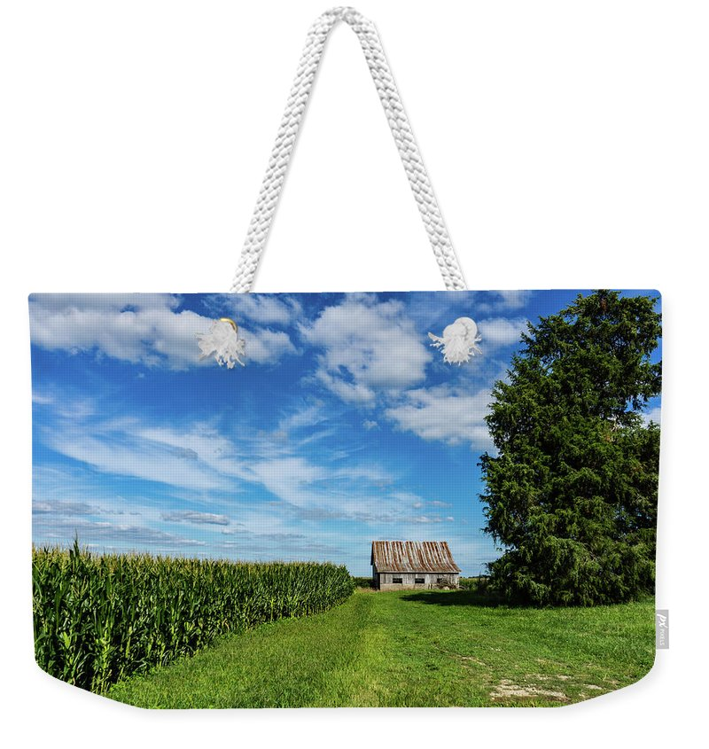 Landscape Weekender Tote Bag featuring the photograph Indiana Barn #189 by Scott Smith