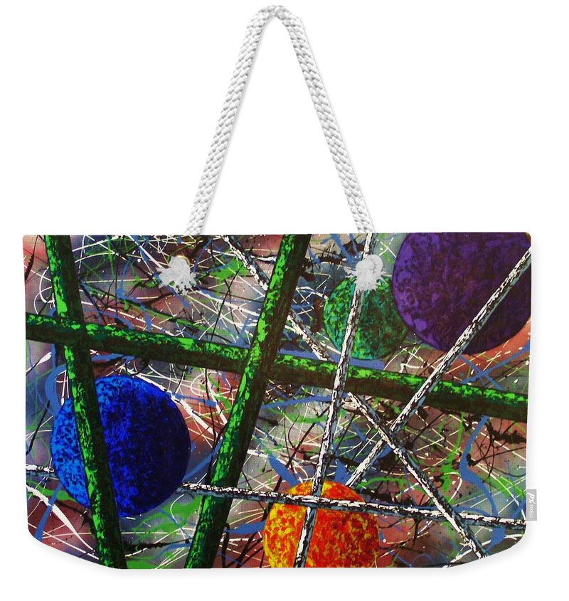 Contemporary / Abstract Weekender Tote Bag featuring the painting Inner Space by Micah Guenther