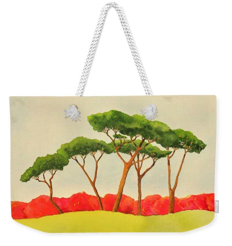 Umbrella Pines Weekender Tote Bag featuring the painting Italian Charm by Mary Ellen Mueller Legault