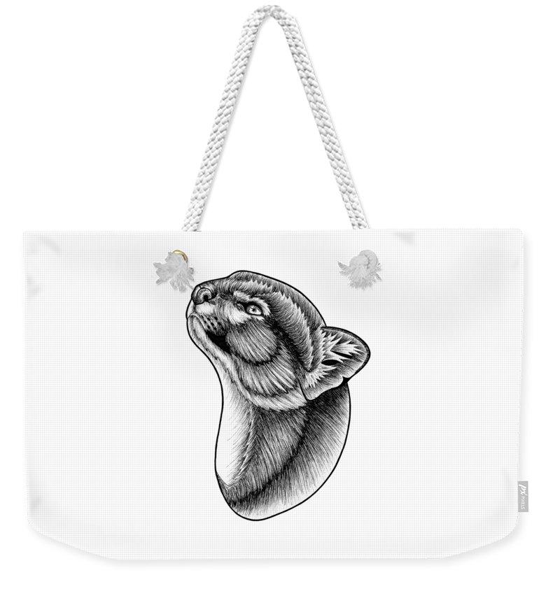 Jaguarundi Weekender Tote Bag featuring the drawing Jaguarundi cat by Loren Dowding