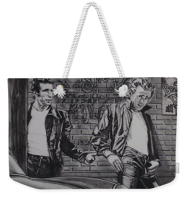 Charcoal On Paper Weekender Tote Bag featuring the drawing James Dean Meets The Fonz by Sean Connolly