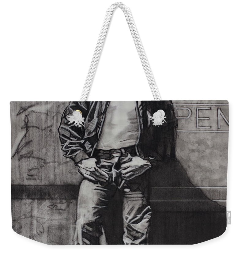 Charcoal On Paper Weekender Tote Bag featuring the drawing James Dean by Sean Connolly