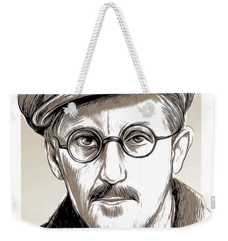 James Joyce Weekender Tote Bag featuring the drawing James Joyce by Greg Joens