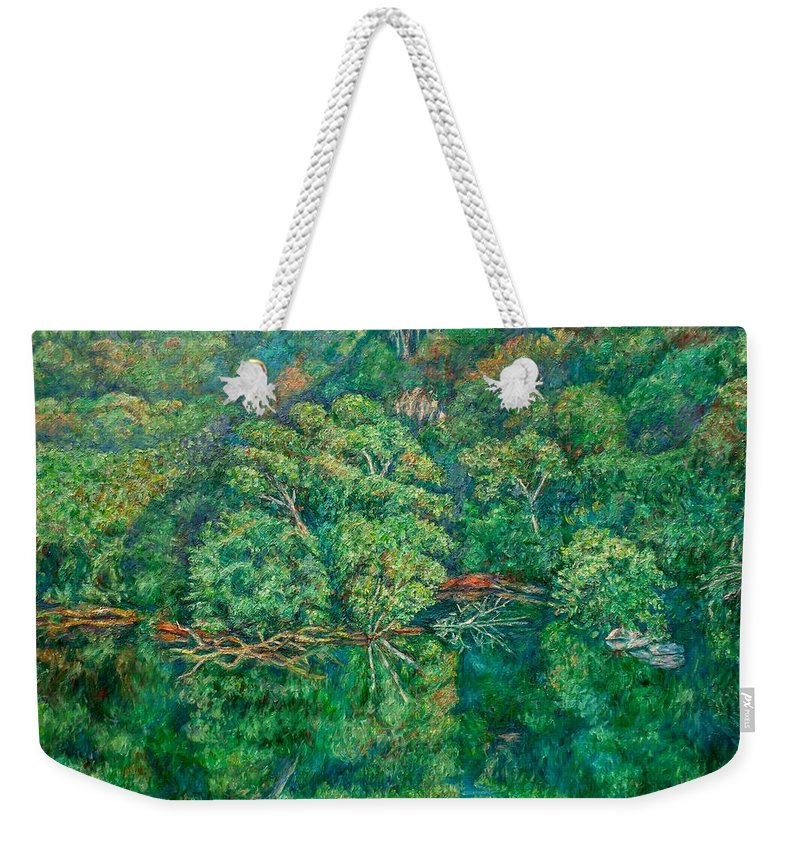 Landscape Weekender Tote Bag featuring the painting James River Moment by Kendall Kessler
