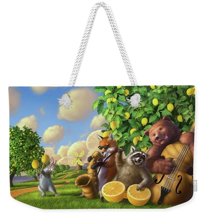 Bear Weekender Tote Bag featuring the digital art Jammin' Lemon Ginger by Jerry LoFaro