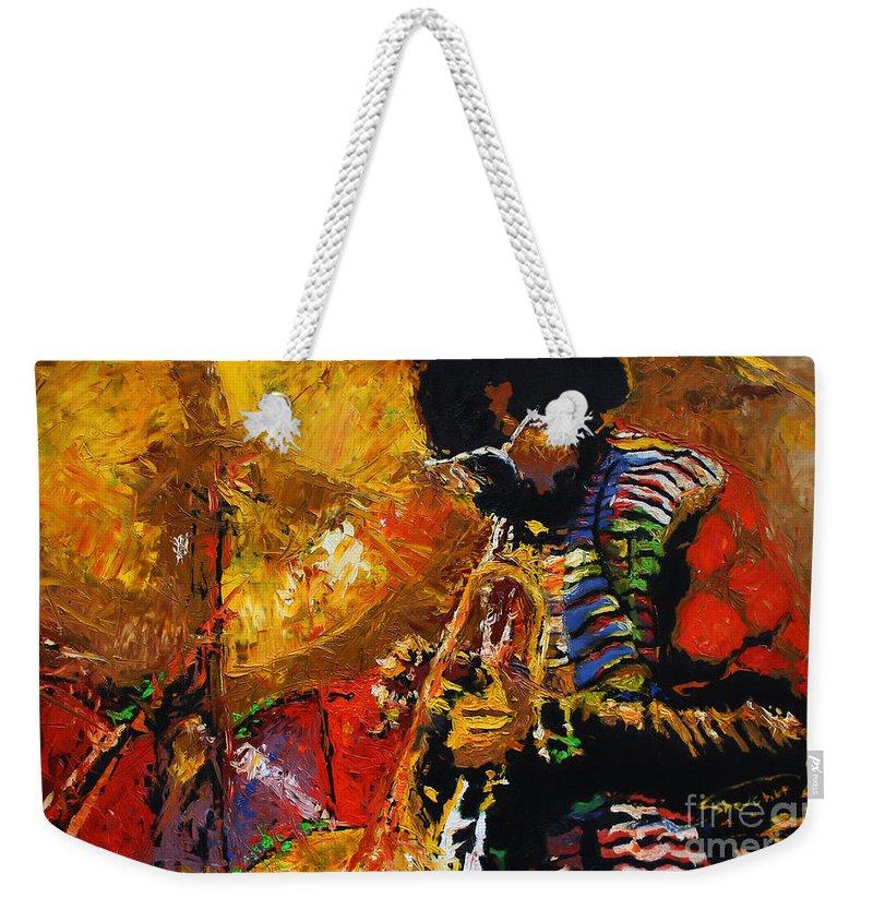 Jazz Weekender Tote Bag featuring the painting Jazz Miles Davis 3 by Yuriy Shevchuk