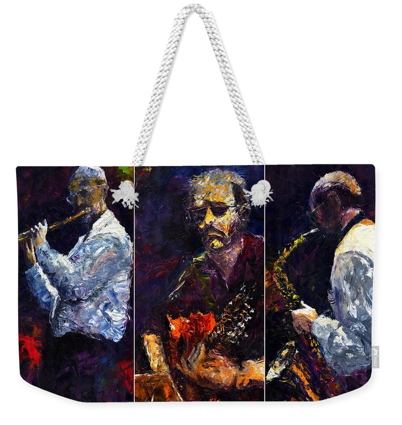 Jazz Weekender Tote Bag featuring the painting Jazz Triptique by Yuriy Shevchuk