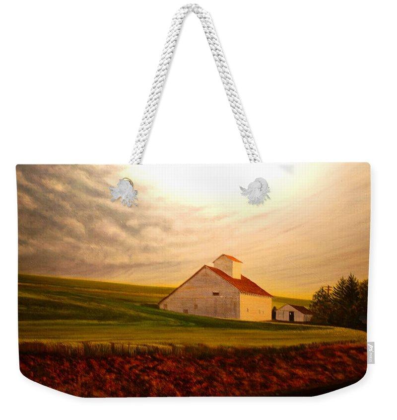 Palouse Weekender Tote Bag featuring the painting Kamiak Homestead by Leonard Heid