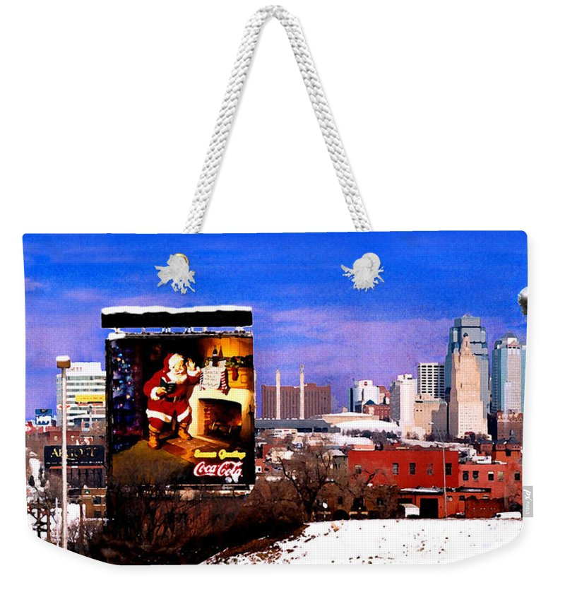 City Weekender Tote Bag featuring the photograph Kansas City Skyline at Christmas by Steve Karol